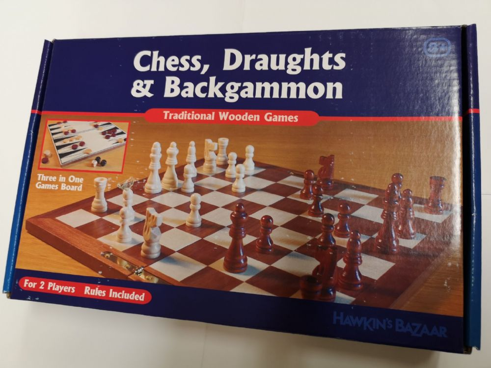 Three in One Games Board  - Chess, Draughts, Backgammon